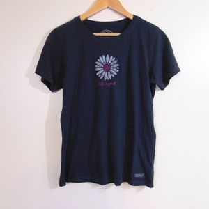 Life is Good Charcoal Grey/Pink Daisy T-shirt